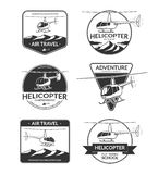 Set of helicopter logos, labels, design elements in vintage style Royalty Free Stock Photo