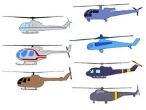 Set of helicopters Royalty Free Stock Photo