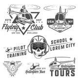 Set helikopter, śmigłowcowy projekt, śmigłowcowy wektor Obrazy Royalty Free