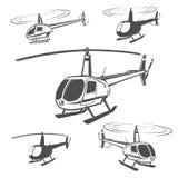 Set helikopter, śmigłowcowy projekt, śmigłowcowy wektor Zdjęcie Royalty Free