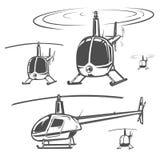 Set helikopter, śmigłowcowy projekt, śmigłowcowy wektor Zdjęcia Royalty Free