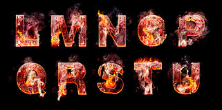 Set of hell burning letters stock photos