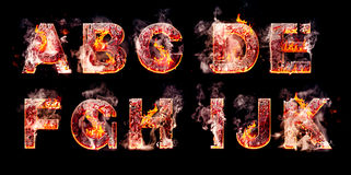 Set of hell burning letters stock images