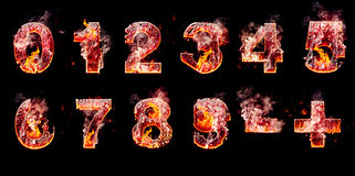 Set of hell burning numbers Stock Photos
