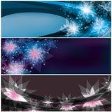 Set helle horizontale Blumenfahnen Stockfotografie