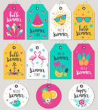 Set hello summer. Gift tags and cards. Royalty Free Stock Images