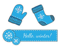 Set with Hello winter banner with snowflake, mitten and socks Royalty Free Stock Image