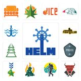 Set of helm, butcher shop, trekking, firemen, military, police badge, ever tree, fight club, navy anchor icons. Set Of 13 simple editable icons such as helm Royalty Free Stock Photos