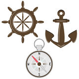 Set of helm, compass and anchor. Illustration of helm, compass and anchor Royalty Free Stock Images