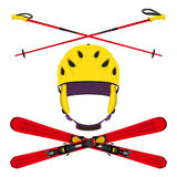 Set of helmet with ski poles, skiing in flat style. Stock Photography