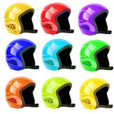Set of helmets luge on a white background Stock Photo