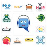 Set of helpdesk, skull and crossbones, cab service, judicial, football helmet, celebrating 25 years, courage, rhino, camper icons. Set Of 13 simple  icons such Stock Image