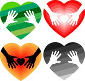 Set of helping hands in heart Royalty Free Stock Photos