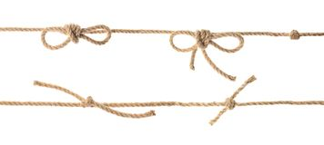 Set with hemp rope, knots and bows. On white background royalty free stock photography