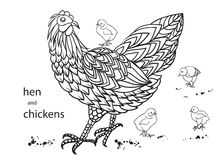 Set of hen and chickens.. Hand-drawn doodle contour. Vector illustration Stock Photos