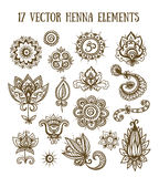 Set of henna elements based on traditional Asian elements Paisley Royalty Free Stock Images
