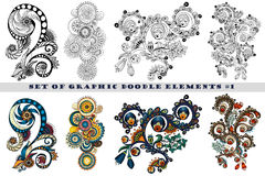 Set of Henna Paisley Mehndi Doodle Element. Royalty Free Stock Photo