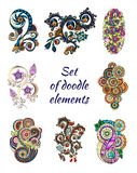 Set of Henna Paisley Mehndi Doodle Element. Stock Image