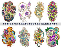 Set of Henna Paisley Mehndi Doodle Element. Royalty Free Stock Photos