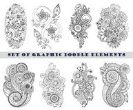 Set of Henna Paisley Mehndi Doodle Element. Stock Photography