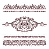 Set of henna tattoo ornaments and borders on white Stock Photography