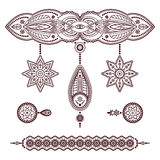 Set of henna tattoo ornaments on white. Set of henna tattoo templates, decorative doodle elements, pendant and bracelet ornaments in Mehndi style on white Royalty Free Stock Photos