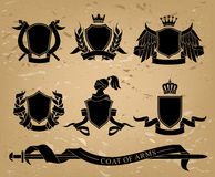 Set of heraldic black emblems Stock Photo