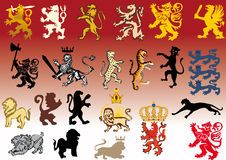 Set of heraldic cats Royalty Free Stock Image
