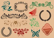 Set of heraldic and decoration Stock Photo