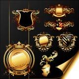 Set of heraldic elements Stock Images