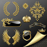 Set of heraldic elements Stock Photo