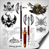 Set of heraldic elements Stock Photo