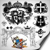 Set of heraldic elements Stock Photography