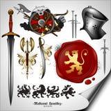 Set of heraldic elements Stock Photos