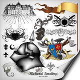 Set of heraldic elements Stock Photos