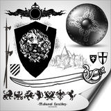 Set of heraldic elements Stock Images