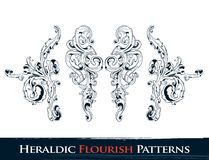 Set of heraldic flourish patterns Stock Images