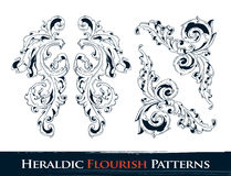 Set of heraldic flourish patterns. For your vintage design. Layered. Vector EPS 10 illustration royalty free illustration