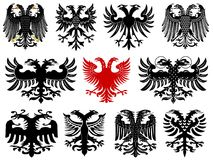 Set of heraldic german eagles. Set of heraldic german double-headed eagles. Vector illustration from Giovanni Santi-Mazzini Heraldic 2003 stock illustration
