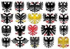Set of heraldic german eagles. Set of heraldic german double-headed eagles. Vector illustration from Giovanni Santi-Mazzini Heraldic 2003 Stock Photography