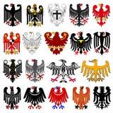 Set of heraldic german eagles. Vector illustration from Giovanni Santi-Mazzini Heraldic 2003 Stock Photo