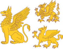 Set of heraldic griffins Royalty Free Stock Image