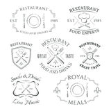 Set of heraldic restaurant logos, labels and Royalty Free Stock Images