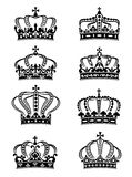 Set of heraldic royal crowns Stock Photography