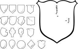 Set of Heraldic Shield Shapes Stock Photo