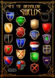 Set of heraldic shields. (Vector) Royalty Free Stock Images