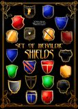 Set of heraldic shields. (Vector) Stock Photography