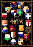 Set of heraldic shields. (Vector) stock photo