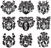 Set of heraldic silhouettes No1 Stock Photo