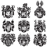 Set of heraldic silhouettes No2 stock illustration